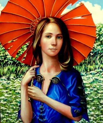 Valery Vasilyevich Litvinov. Girl with umbrella
