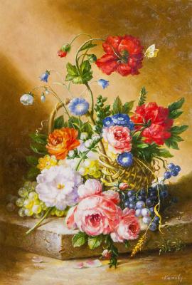 Saveliy Kamsky. Basket with flowers and grapes