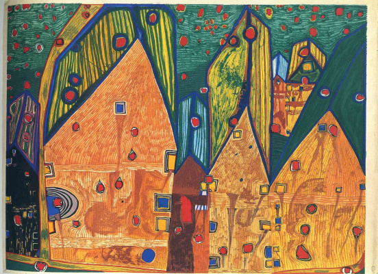 Friedensreich Hundertwasser. Houses in the bloody rain