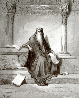 Paul Gustave Dore. Bible illustration: the wise Solomon