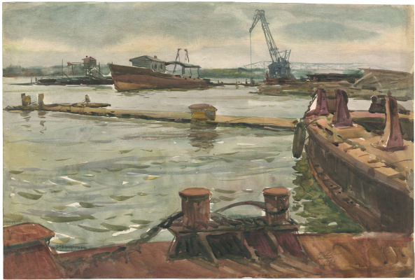 Alexandrovich Rudolf Pavlov. Series of watercolors Astrakhan, No. 4. Cargo berth.