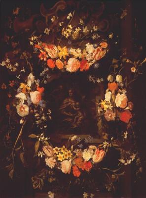 Сегхерс. Гирлянда из цветов со Святым семейством