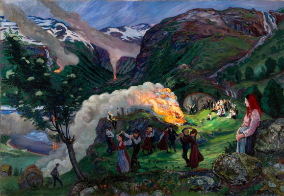 Nikolay Astrup. A great bonfire on Midsummer night