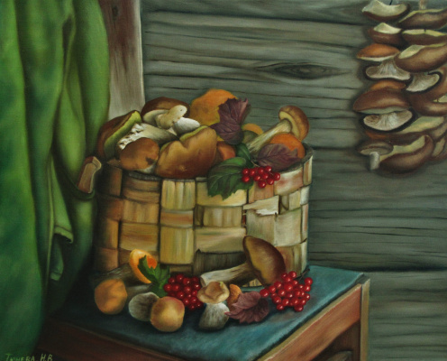 Natalia Viktorovna Tyuneva. Still life with mushrooms