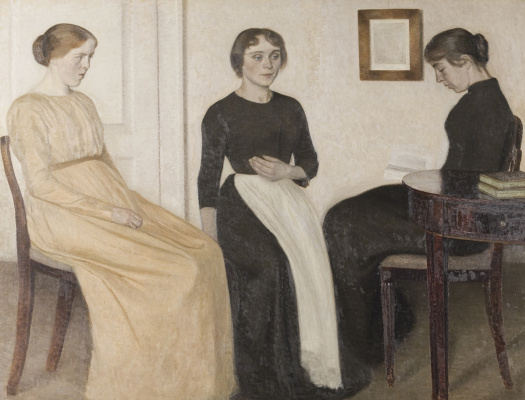 Three young women in the interior