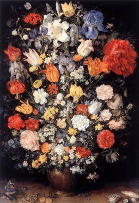 Jan Bruegel The Elder. Bouquet in a vase, coins and shells