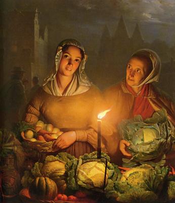 Petrus van Shendel. Market by candlelight.