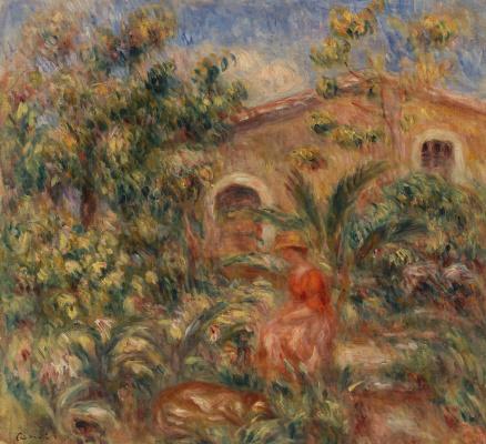 Пьер Огюст Ренуар. Пейзаж с женщиной и собакой