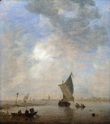 Ян ван Гойен. Рыбаки вытаскивают сеть