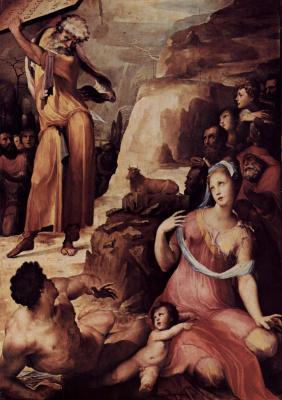 Доменико Беккафуми. Моисей разбивает скрижали Завета
