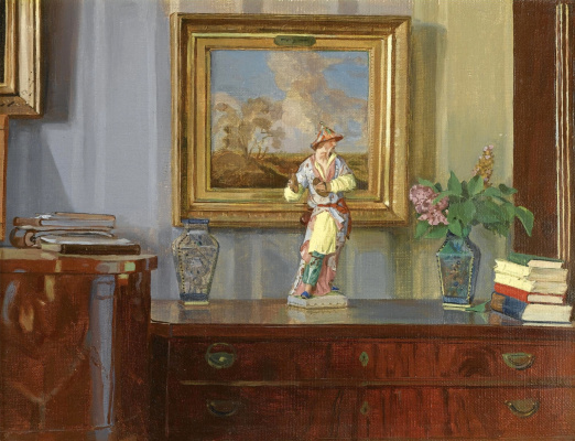 Constantin Somov. Interior with Chinese figure