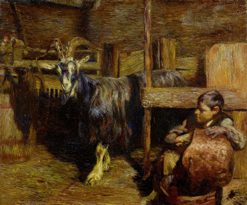 Giovanni Giacometti. In the barn with the goats