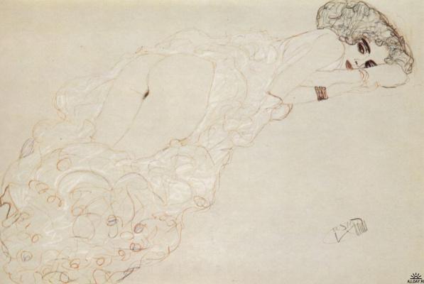 Густав Климт. Лежащая на животе обнаженная женщина