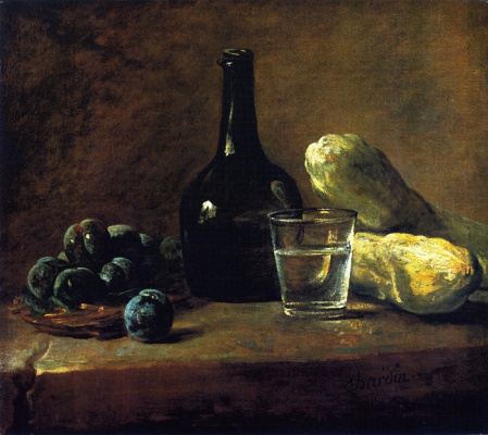 Jean Baptiste Simeon Chardin. Still life with plums, a bottle and a glass of water