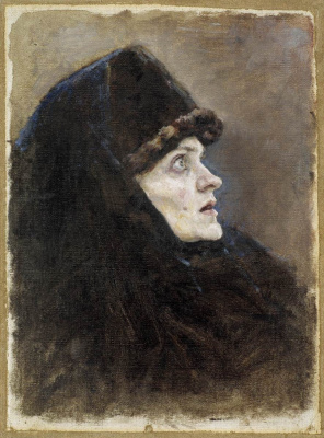 "Vasily Ivanovich Surikov. Head Boyarina Morozova. A sketch for the painting ""Boyarynya Morozova"""