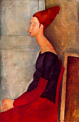 Amedeo Modigliani. Seated portrait of Jeanne hebuterne in profile (in dark clothes)