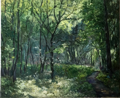 """Sophia Vinogradova. The painting """"May Forest"""" (oil on canvas palette knife forest path grove spring light sun greenery joy youth youth freshness)"""