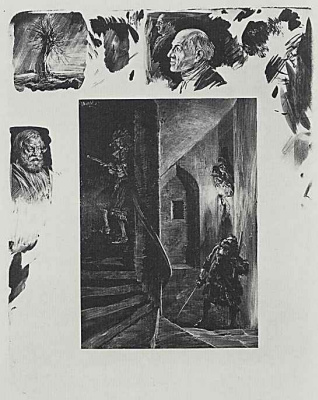 "Adolf Friedrich Erdmann von Menzel. A series of ""Tests on stone with brush and scraper"" Squatting on the spiral staircase"