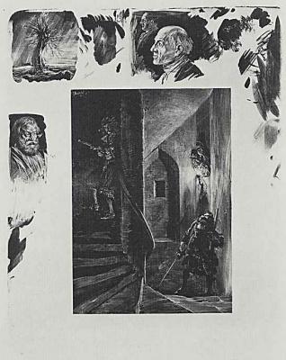 "Adolf Friedrich Erdmann von Menzel. A series of ""Tests on stone with brush and scraper"" Squatting on the spiral staircase"
