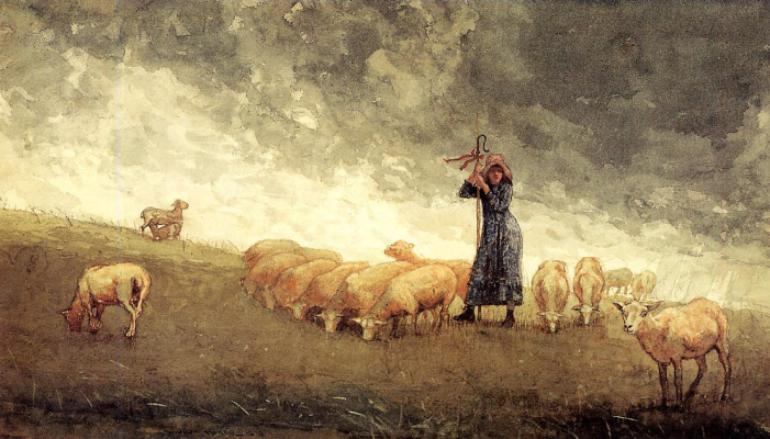 Winslow Homer. Shepherdess tending sheep
