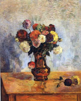 Dahlias in a copper vase