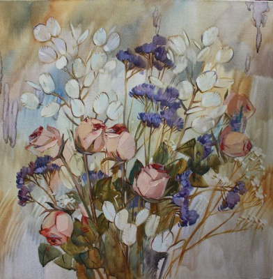 Dina Dmitrievna Kalinkina. A bouquet of dry roses