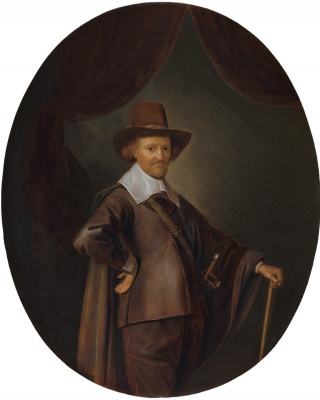 Gerrit (Gerard) Dow. Portrait of a gentleman with a walking cane