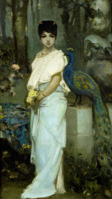 Wilhelm Kotarbinsky. Young woman with peacock