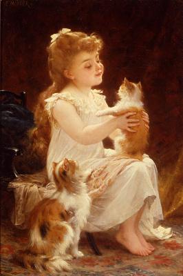 Эмиль Мюнье. Девочка играет с котенком