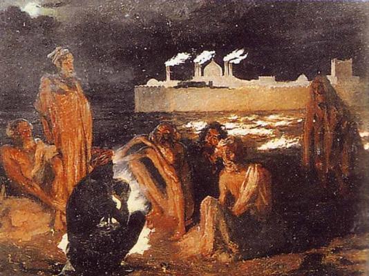 Григорий Григорьевич Гагарин. «Огнепоклонники-гебры у храма Атеч-Га». 1842-1847