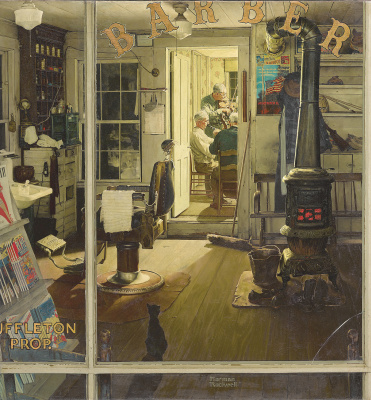 Norman Rockwell. Shuffleton's Barbershop