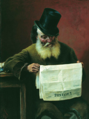 Fedor Andreevich Bronnikov. Reading a newspaper. 1880