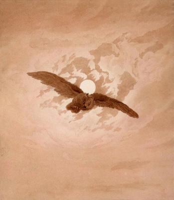 Caspar David Friedrich. Flying owl on the background of the lunar sky