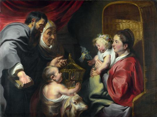 Якоб Йорданс. Madonna and child with Saint John