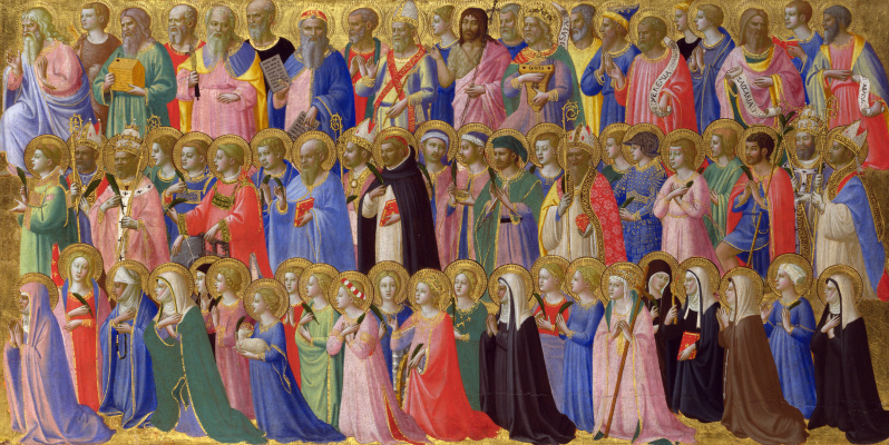 Fra Beato Angelico. Christ in glory: with patriarchs, prophets, martyrs, and virgins. The limit of the altar of St. Dominic in Fiesole