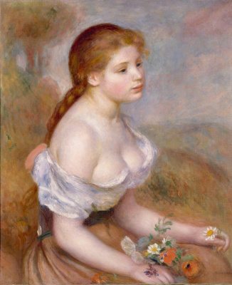 Pierre-Auguste Renoir. Young girl with daisies