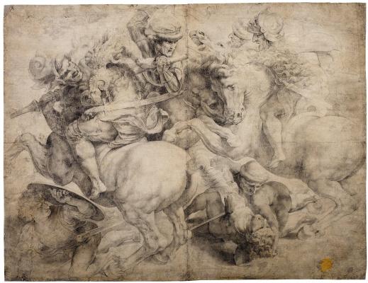 Неизвестный  художник. Сражение за штандарт (Битва при Ангиари), по мотивам Леонардо