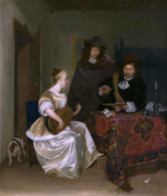 Gerard Terborch (ter Borch). Woman playing a lute with two men