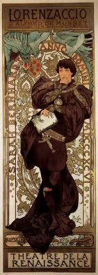 Alfons Mucha. Lorenzaccio. Promotional poster for Sarah Bernhardt