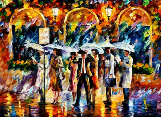 Leonid Afremov. At the bus stop