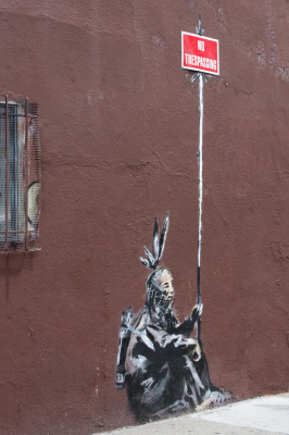 Banksy. Unauthorized persons are not allowed to enter (Do not cross)