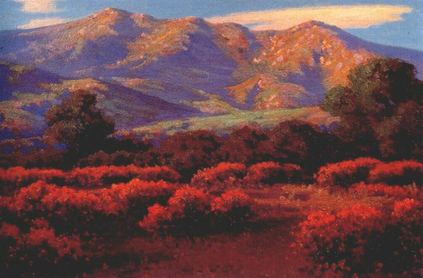 Джон Маршалл Гамбл. Розовые конские каштаны и горы Санта-Барбары