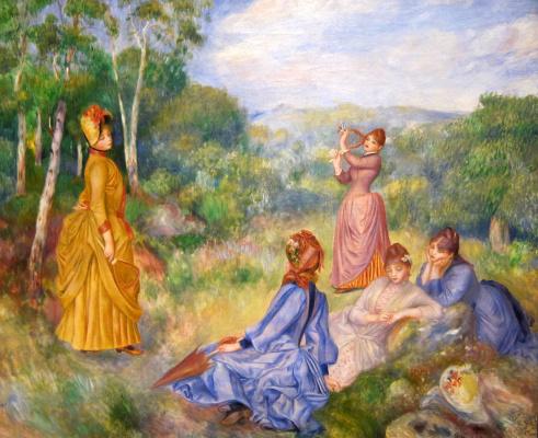 Пьер Огюст Ренуар. Молодые женщины, играющие в бадминтон