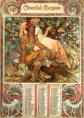 Alfons Mucha. Chocolate Masson. Calendar