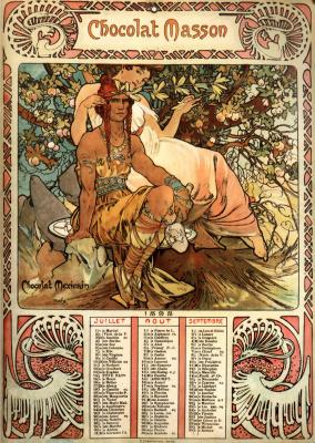Alphonse Mucha. Chocolate Masson. Calendar