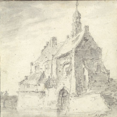 Jan van Goyen. The building with the peaked roof