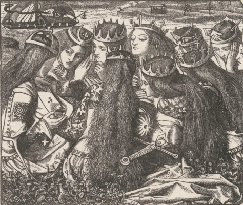 Dante Gabriel Rossetti. King Arthur and the weeping Queens. Illustration for the poetry of Tennyson