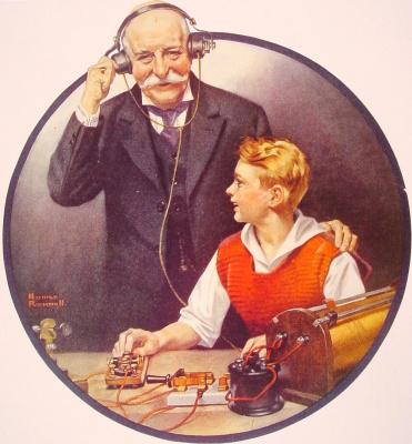 """Дедушка слушает сообщение по радиоприемнику. Обложка журнала """"Literary Digest"""" (21 февраля 1920 год)"""