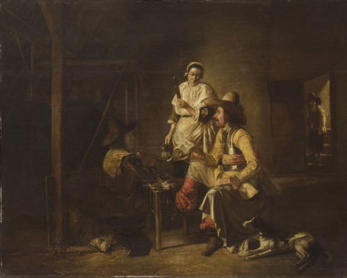 Pieter de Hooch. Soldiers with the maid in the barn