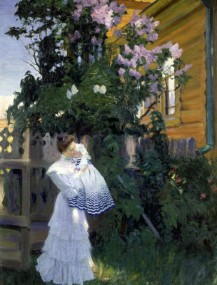 Lilac. Depicted Evstafevna Yulia Kustodieva, the artist's wife, with her daughter Irina